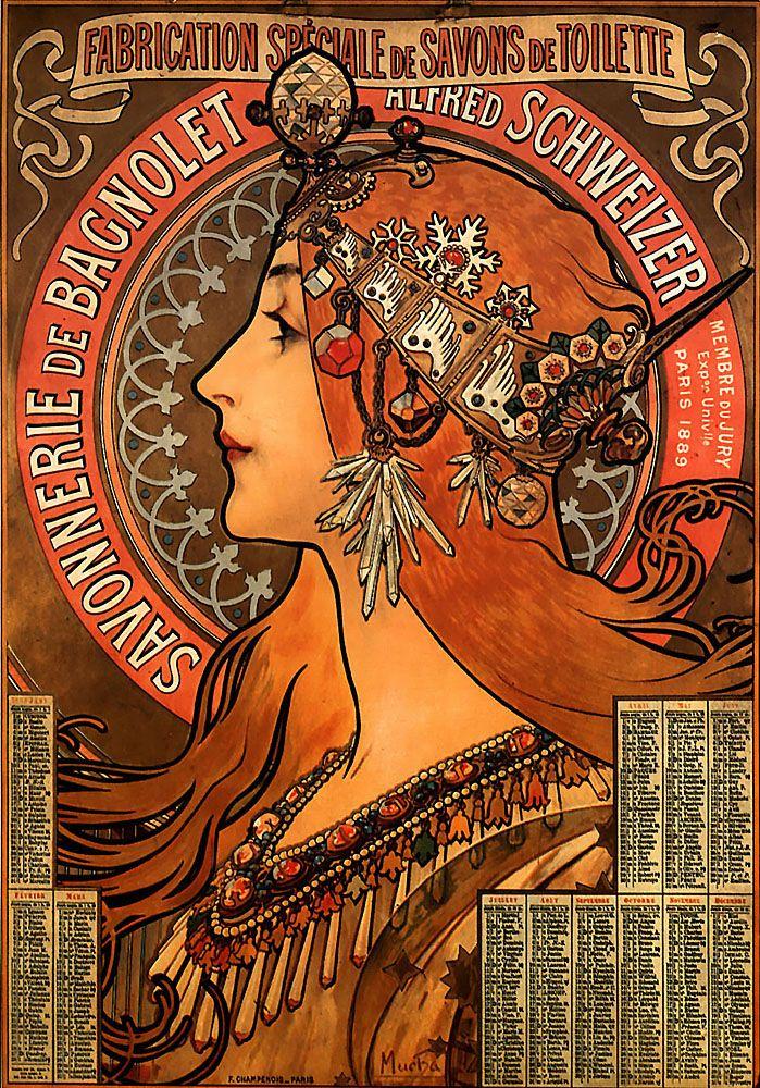 French advertisement for Bagnolet Soaps, 1889. Love her headdress!