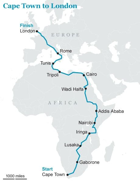 Two British adventurers aim to drive 10,000 miles from Cape Town to London in   just ten days - in a Fiat Panda.