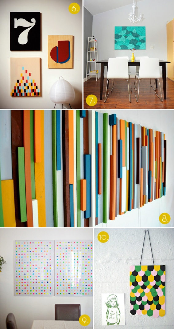roundup 10 affordable diy modern wall art projects. Black Bedroom Furniture Sets. Home Design Ideas