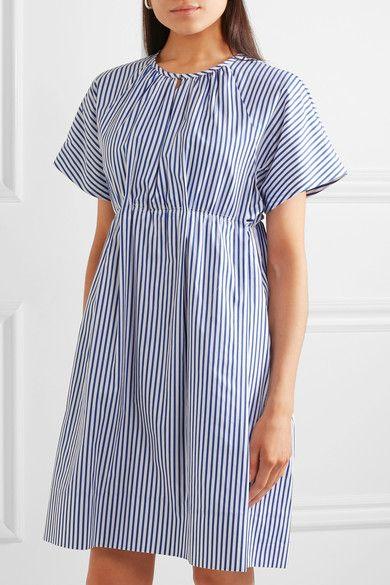 Victoria, Victoria Beckham - Gathered Striped Cotton Dress - Blue - UK12