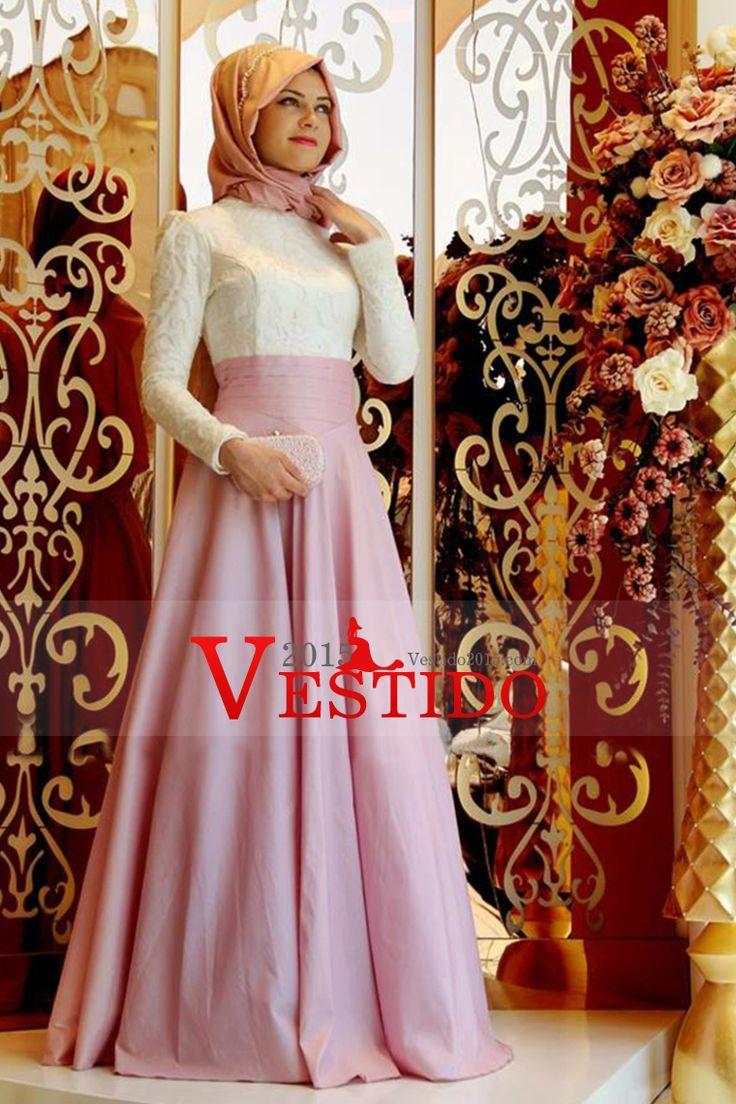 2.016 musulmanes vestidos de baile Una línea de gasa y encaje de longitud de