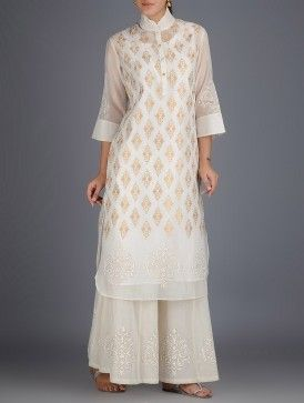 Ivory-Golden Khari Block Printed with Stitch Detailed Chanderi Kurta with Lining Set of 2