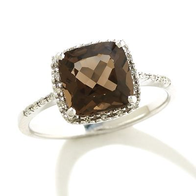 Cushion-Cut+Smoky+Quartz+Ring+in+14K+White+Gold+with+Diamond+Accents
