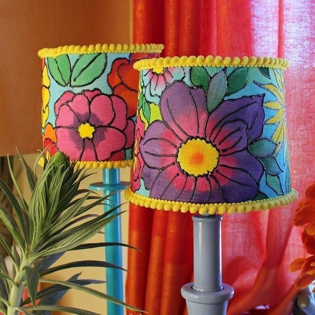 Painted Floral Lampshades Painting Lamp Shades Diy Floral Decor Lampshades