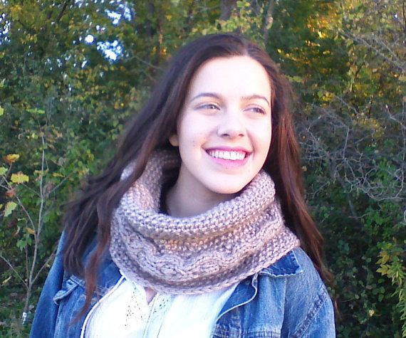 Oatmeal Knit Cowl Hand knit Scarf cable knit by HandmadeTrend