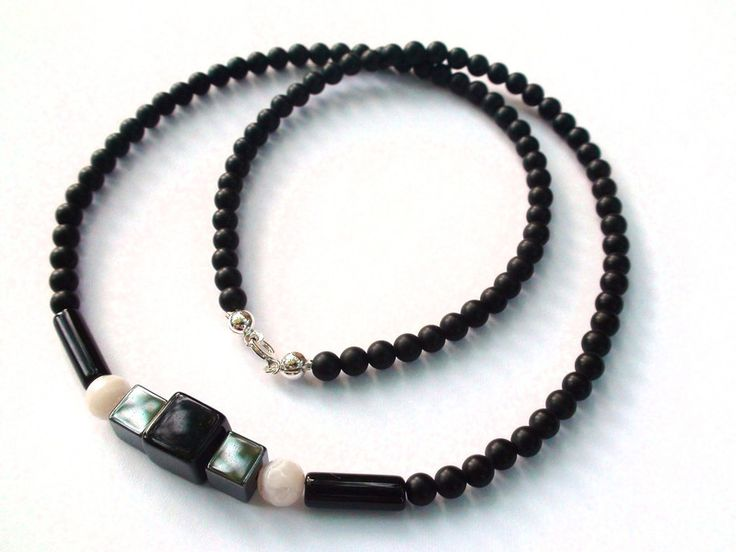 Mens Necklaces – Mens Necklace - Onyx, hematite, agate, 925 silver – a unique product by OlgaJewelryBoutique on DaWanda