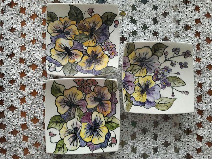 Çini kare tabak menekşeler handmade benim çalışmalarım