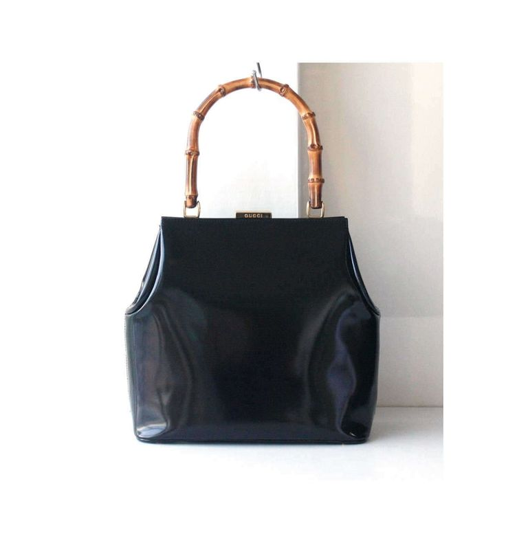 Gucci Bamboo Black Patent Leather Tote handbag Rare Vintage authentic bag by hfvin on Etsy  #gucci #bamboo #patent #black #totes #handbag #hfvin
