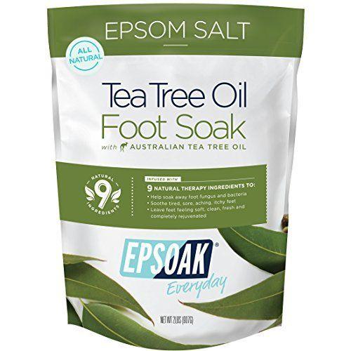 Tea Tree Oil Foot Soak With Epsom Salt, Helps Soak Away Toenail Fungus , Athletes Foot & Stubborn Foot Odor - Softens Calluses & Soothes Sore Tired Feet -16 oz