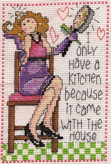 Kitchen Came With The House    Counted Cross-Stitch
