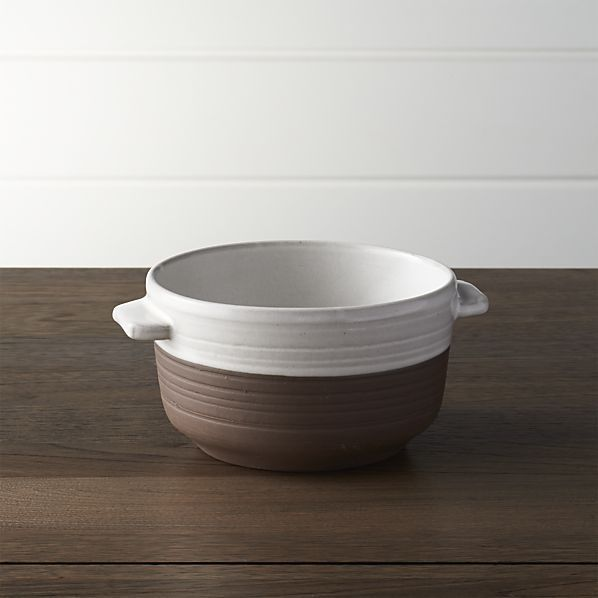 Studio Dark Clay Soup Bowl with Handles   Crate and Barrel