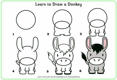 ¿Qué puedo hacer hoy?: Dibujos paso a paso: burro