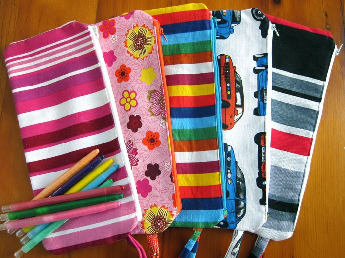 Canvas pencil bags with waterproof lining.