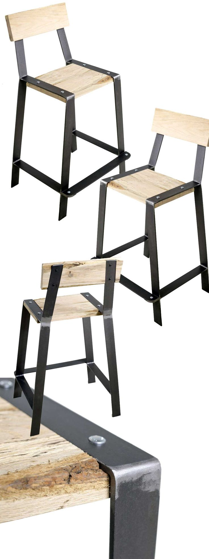 """It's as comfortable as it is stylish! At home in contemporary and rustic environments, every piece is totally unique and starts with reclaimed """"slabs."""" Find the Urban Forge Counter Stool as seen in the counter stool collection at http://www.timelesswroughtiron.com/Urban-Forge-25-inch-Iron-Barstool-p/twi-sci-980-236-25in.htm"""