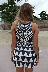 fitted bodycon dress  Aztec contrast navy/white print  Invisible side zip opening
