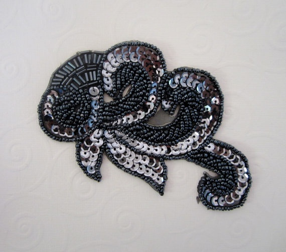 Gray Sequin Applique Beaded Applique by PrettyThingsSupplies, $8.00