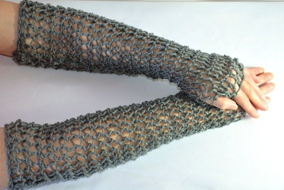 Chain Mail Sleeves, hand knitted faux maille fingerless gloves, for Ranger, LOTR and fantasy costumes and LARP cosplay, one size, unisex