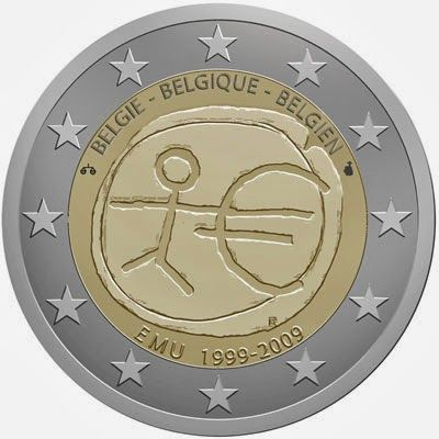 2 Euro Commemorative Coin Belgium 2009 Economic Monetary Union. 2 euro coins from Belgium