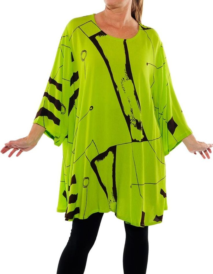 Plus We Be Bop Lagenlook CHARTREUSE  Crinkle Rayon Swing Top | Clothing, Shoes & Accessories, Women's Clothing, Tops & Blouses | eBay!