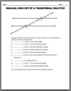 Parallel Lines Cut by aTransversal Worksheet. Free printable