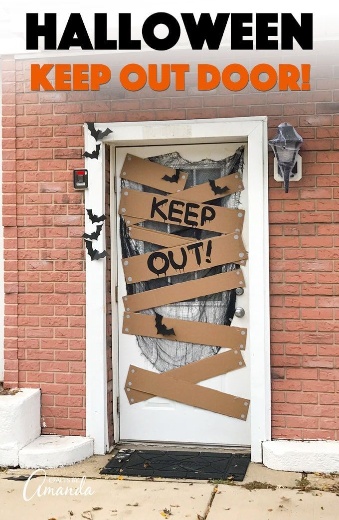 Decorate Your House With A Spooky Halloween Door That Says Keep Out Warning All Who Appr Halloween Door Decorations Halloween Diy Door Halloween Front Doors