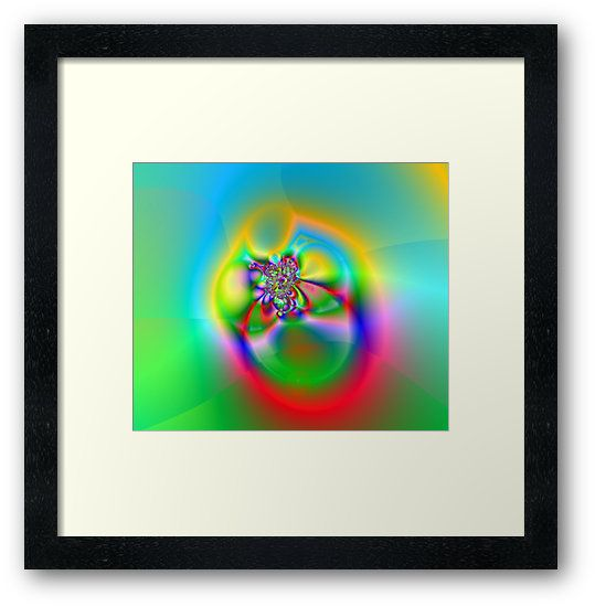 Illusion (FL24-003) Framed Prints by Terrella.  A bright and colourful fractal image which some see as flowers, others a fly or beetle and some see a ring. What do you see? • Also buy this artwork on wall prints, apparel, phone cases, and more.