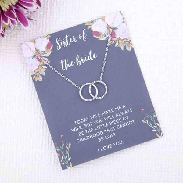 Personalised Sister Of The Bride Wedding Day Gift Present Uk Sister Of The Bride Day Of Wedding Gift Message Card Necklace Birthday Gifts For Sister Bride Gifts Bridal Gift Set