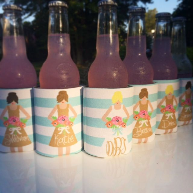 Personalized wedding party aqua and tan bridesmaid dress koozies - haymarket designs