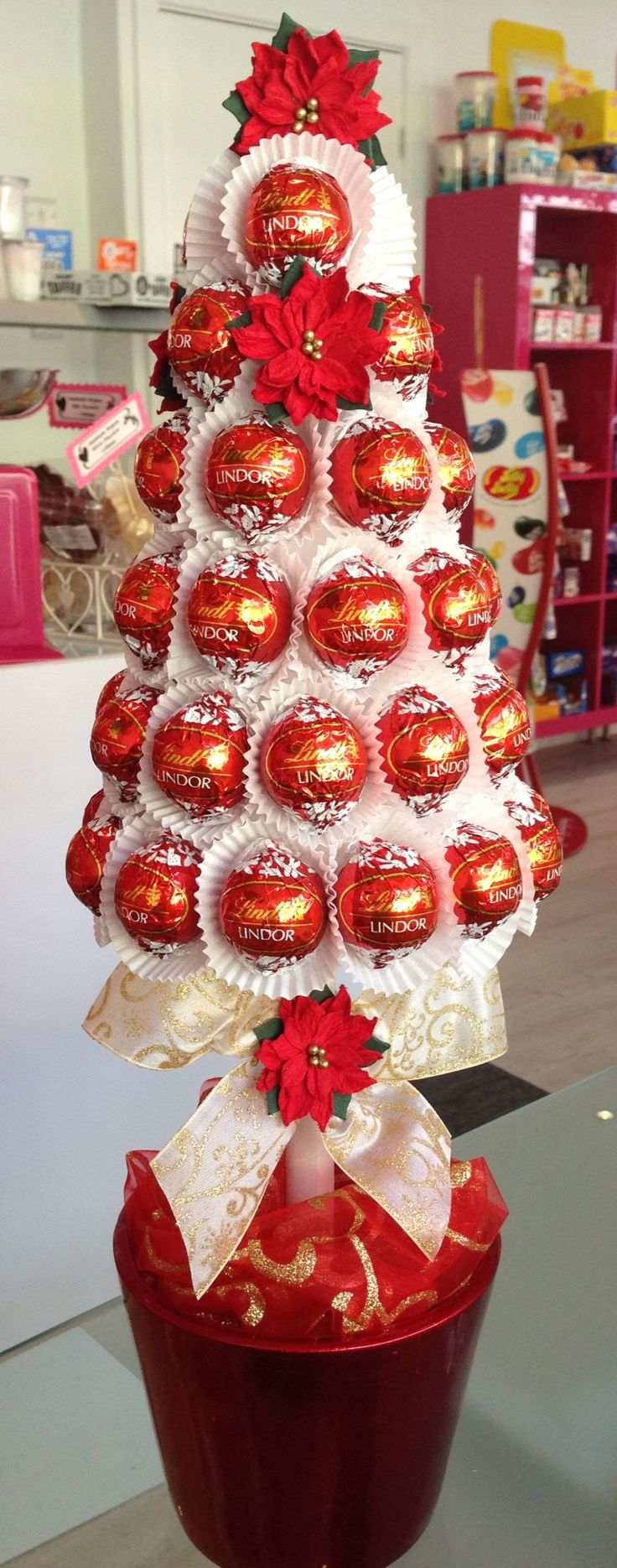 chocolate candy bouquet in glass container ideas - Google Search
