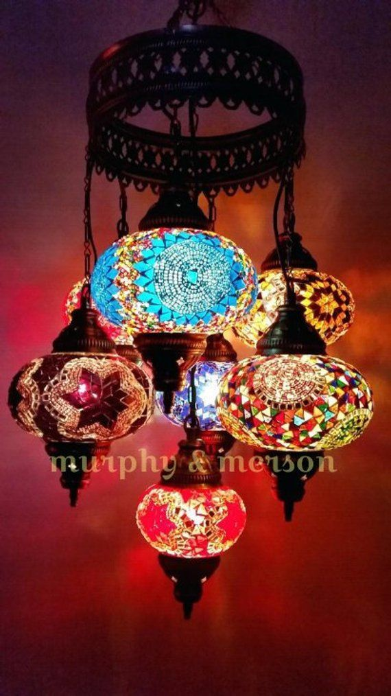 Turkish Pendant Mosaic Lamp 7 Globe Moroccan Style Chandeliers Hanging Light Night Tiffany Lamp Antique Lampshade Free Expedited Shipping