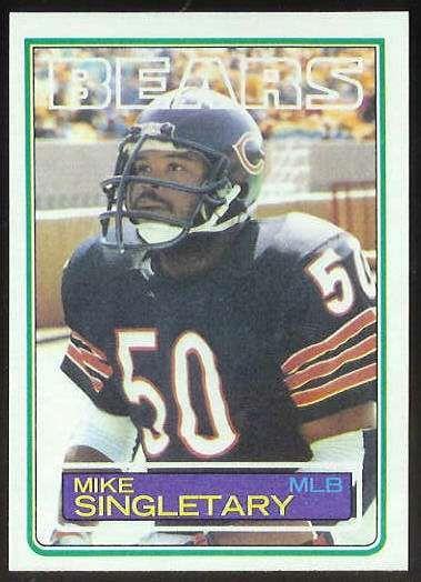 mike singletary football card | 1983 Topps FB #.38 Mike Singletary ROOKIE Football cards value