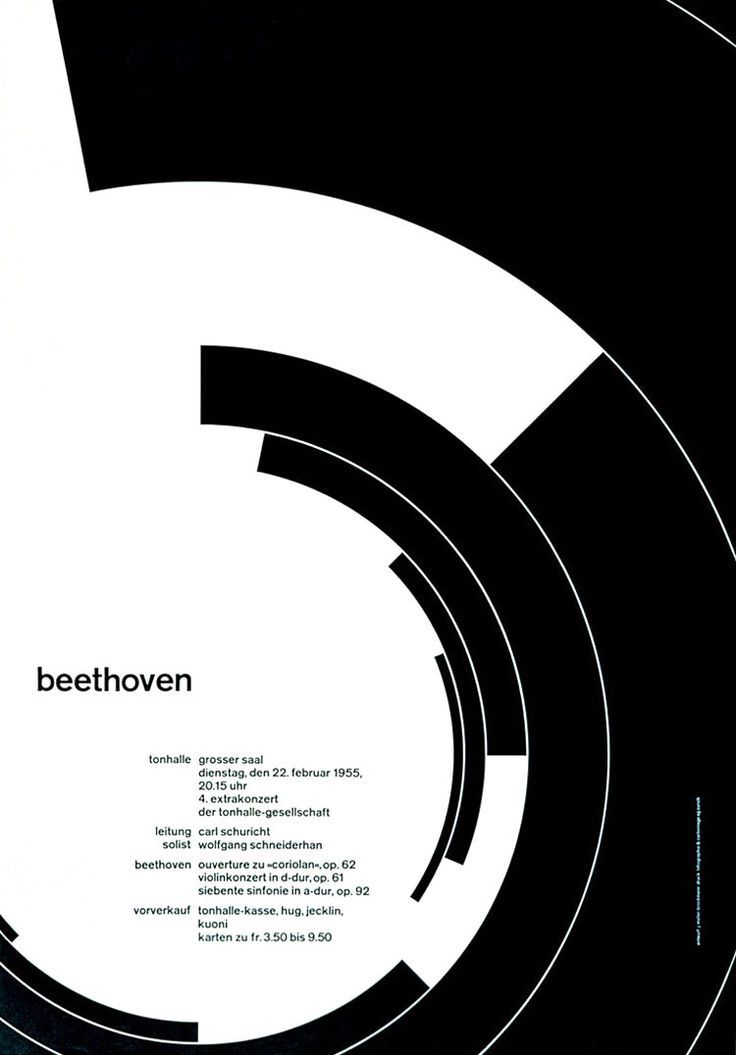 1955 Joseph Muller Brockmann Poster.  I know of so many pieces of graphic design and interface design that this has inspired! Yet always so simple ^_^: