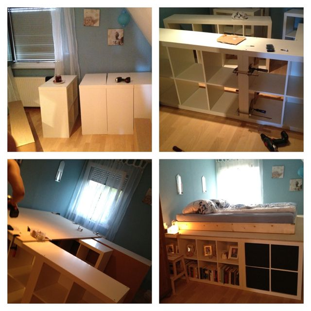 diy storage bed... I wonder if the ikea shelves are strong enough for this.... ?  I like the idea though
