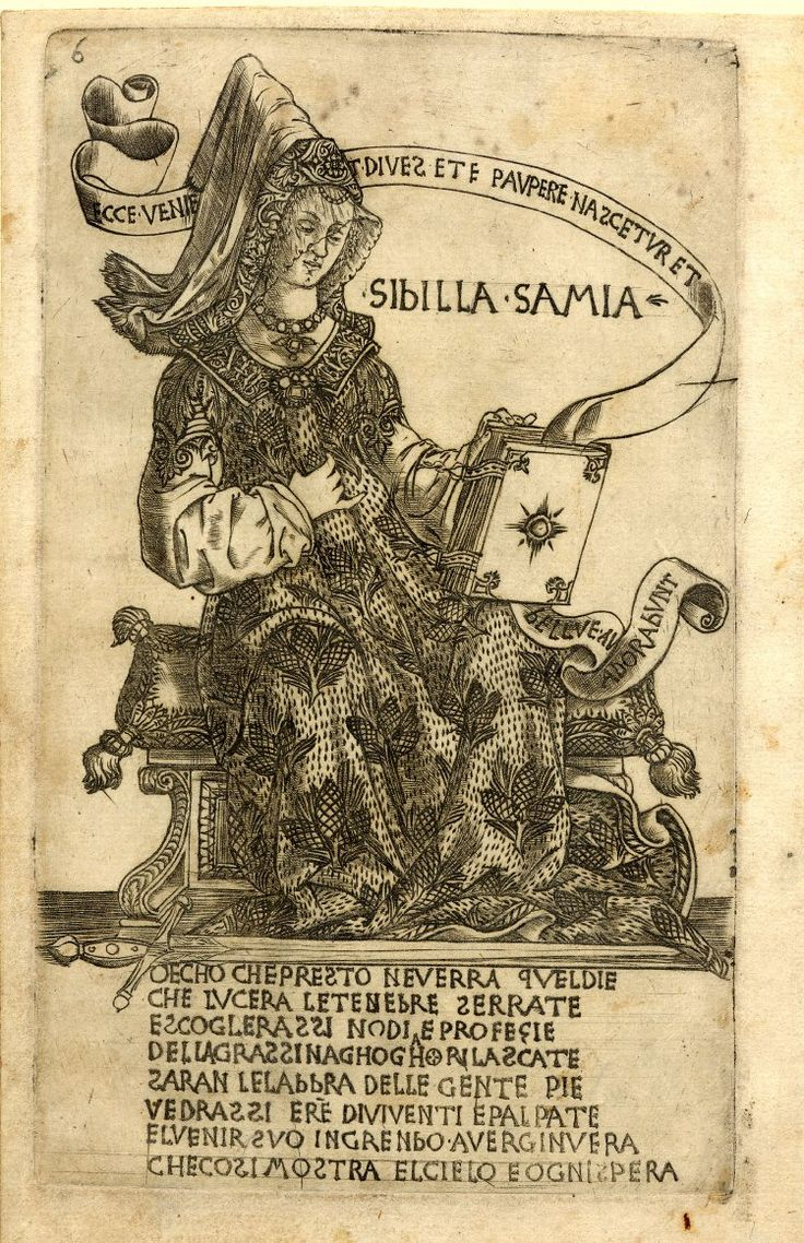 Attributed to Baccio Baldini The Samian Sibyl, facing right and sitting on a bench with two cushions, she is wearing a costume decorated wit...