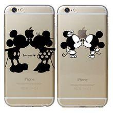 Para apple iphone 4 4s 5 5s 5c 6 6 s 6 más caso bonito mickey minnie beso caja del teléfono duro de la contraportada para fundas iphone 6 s Coque(China (Mainland))