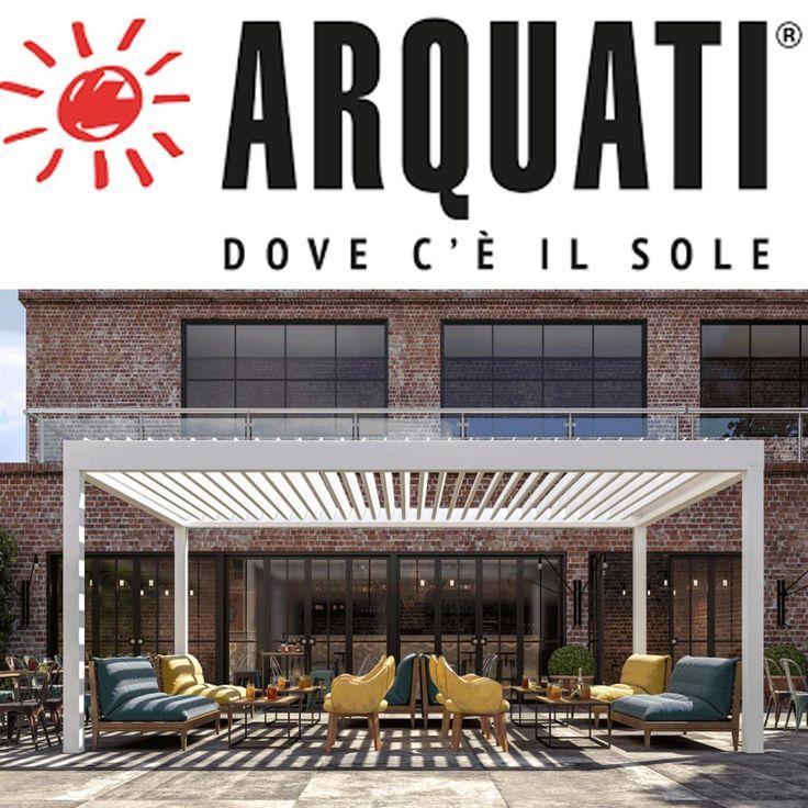 BioArq di Arquati - Pergola bioclimatica con coperture frangisole dotata di lamelle arientabili.