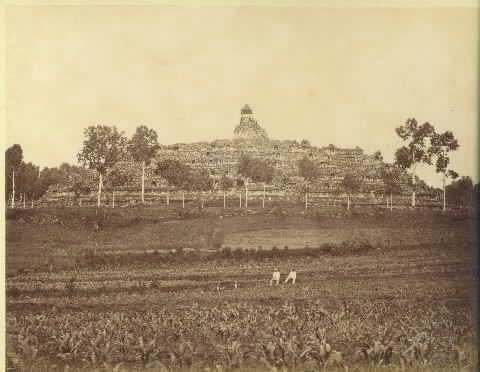Borobudur 1866, Selama berabad-abad Borobudur tersembunyi dan terlantar terkubur di bawah lapisan tanah dan debu vulkanik yang kemudian ditumbuhi pohon dan semak belukar sehingga Borobudur kala itu benar- benar menyerupai bukit. Alasan sesungguhnya penyebab Borobudur ditinggalkan hingga kini masih belum diketahui.
