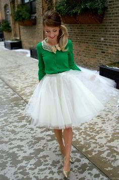 tulle and cardigan