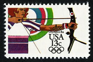 Archery is currently experiencing a resurgence in popularity, but it was popular enough in 1984 to appear on this Summer Olympic Games stamp.