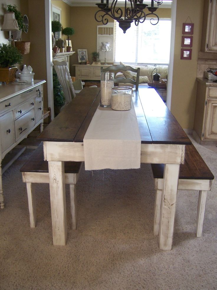 Rustic homemade farm style dining room table with benches for Farmhouse dining room table set