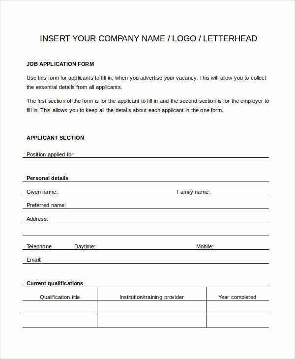 Job Application Form Template Word Best Of Generic Job Application 8 Free Word Pdf Documents Job Application Template Job Application Job Application Form