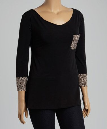 Look what I found on #zulily! Black Abstract Scoop Neck Top - Plus #zulilyfinds