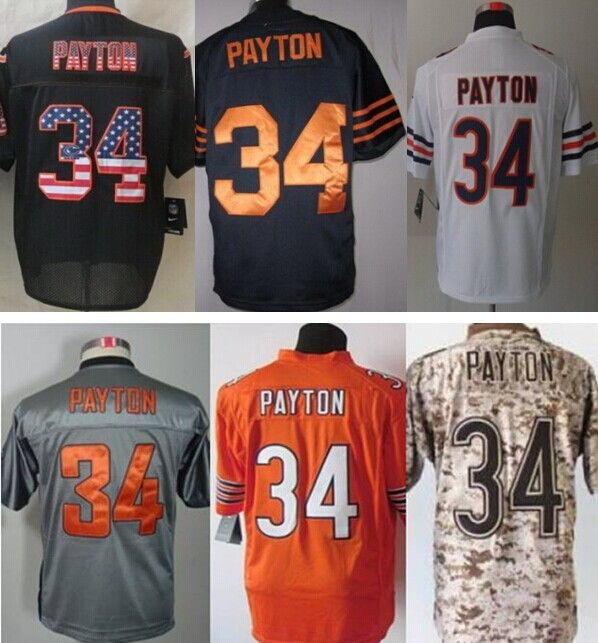 find more sports jerseys information about free shipping mens chicag 34 walter payton black usa flag
