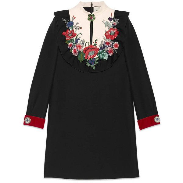 Gucci Embroidered Silk Wool Dress ($3,160) ❤ liked on Polyvore featuring dresses, new dresses, ready to wear, women, applique dress, long sleeve dress, zip back dress, flower dress and embroidered dress