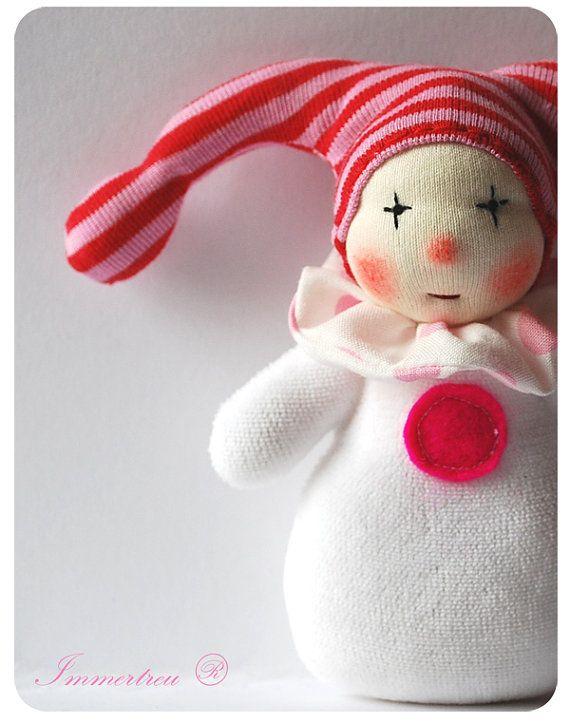 Darling little clown, handmade doll 5 inch Waldorf tradition Custom Order