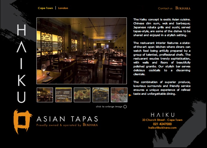 Haiku (Cape Town) - Best Asian Fusion. Get duck pancakes, lichee martini, singapore noodles.