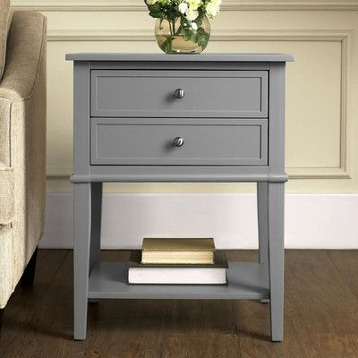 Features:  2 Small Item Storage Drawers.  Lower Display Shelf.  Gray ·  Bedroom End TablesGrey ...