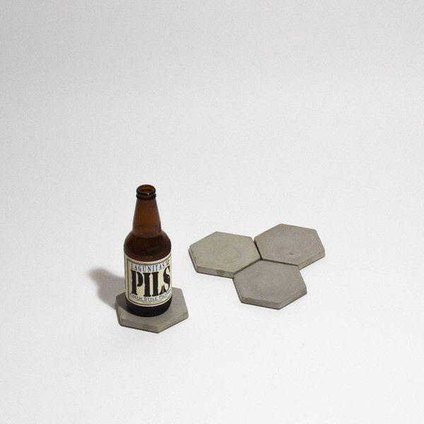 Hexagon Concrete Coaster Set   #giftsforhim #fathersday