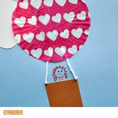 """It's Make it Monday! With Valentine's Day just around we wanted to share a sweet craft with you! Try making """"Cupcake Liner Hot Air Balloons"""", as a fun craft to celebrate this #ValentinesDay! Check out our Facebook page for more details: www.facebook.com/Gymboree ❤️ #Crafting #OneBigHappy"""