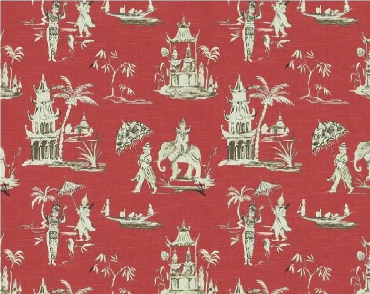 Home Accents Pagoda Road Chinoiserie Toile Fabric In Azalea ~ 4 Yards At  $32.00 And Shipping
